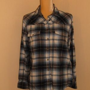 JACHS GIRLFRIEND flannel shirt blue plaid sz small
